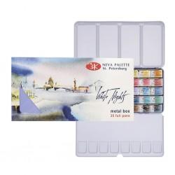 Akvarelové barvy sada 35 kusů v kovové krabičce White Nights Nevskaya Palitra