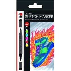 Sketch marker sada 6 kusů Graphix Marabu