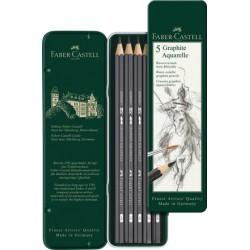 Tužky grafitové Aquarelle sada 5 kusů v kovové krabičce Faber Castell