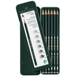 Grafitové tužky sada 6 kusů v kovové krabičce Faber Castell