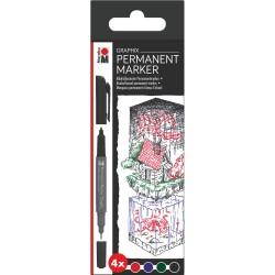 Permanent Marker Graphix sada 4 kusů Marabu