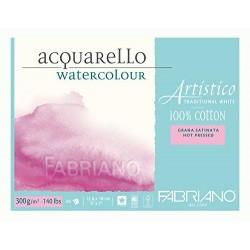 Blok na akvarel 100 % bavlna 300g/² 25 listů 12,5 x 18 cm Fabriano Artistico Hot Pressed
