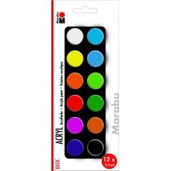 Akrylové barvy sada 12 x 3,5 ml Marabu