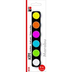 Akrylové barvy sada 6 x 3,5 ml Neon Marabu