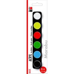 Akrylové barvy sada 6 x 3,5 ml Basic Marabu