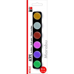 Akrylové barvy metalické sada 6 x 3,5 ml Marabu