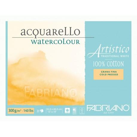 Blok na akvarel 20 listů 30,5x 45,5 cm 100 % bavlna 300g/² Cold Pressed Artistico Fabriano