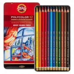 Pastelky umělecké Polycolor sada 12 kusů v kovové krabičce KOH-I-NOOR