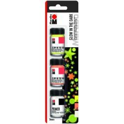 Akrylové barvy fluorescenční sada 3x15 ml Marabu