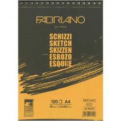 Skicák 120 listů 90g/m² kroužková vazba Schizzi Fabriano