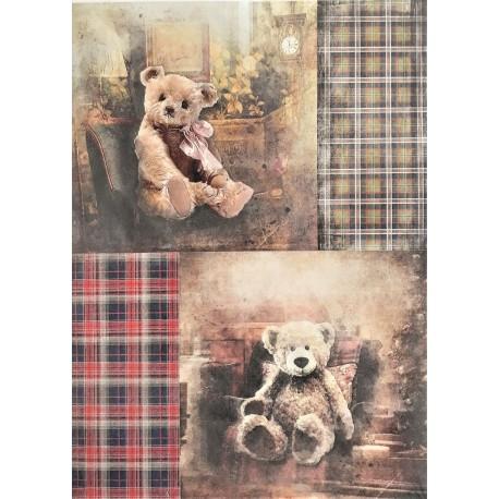 Rýžový papír Vánoční Medvídci A4