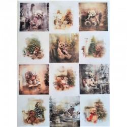 Rýžový papír na decoupage Vánoční Medvídci čtverečky A4
