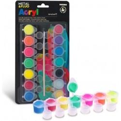 Akrylové barvy sada 14x4,5 ml Fluorescenční a metalické Primo