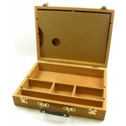 Dřevěný kufřík na barvy s paletou