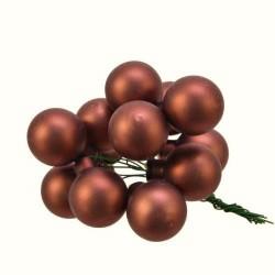 Skleněné kuličky tmavě hnědé matné na drátku průměr 2 cm 9 kusů