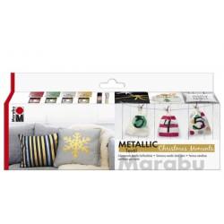 Barvy na textil metalické vánoční sada Marabu