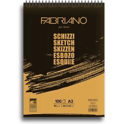 Skicák A3 100 listů 90 g/m²  kroužková vazba Schizzi Fabriano