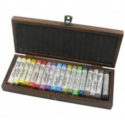 Luxusní sada suchých pastelů 18 ks v dřevěné kazetě