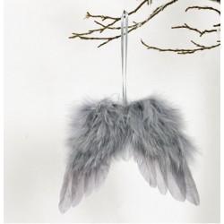 Andělská křídla šedá na zavěšení šířka 8 cm
