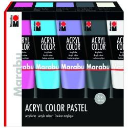 Akrylové barvy sada 5x100 ml pastelové odstíny Marabu