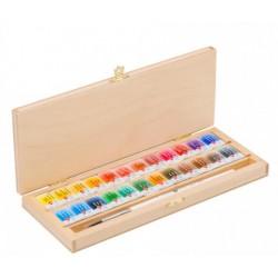 Akvarelové umělecké barvy sada 24 kusů v luxusní dřevěné kazetě + štětec kulatý vel.3 White Nights Nevskaya Palitra