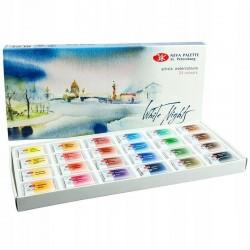 Akvarelové umělecké barvy sada 24 kusů v papírové kazetě White Nights Nevskaya Palitra