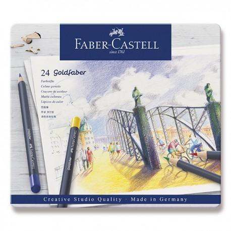Pastelky profesionální 24 kusů v kovové kazetě Goldfaber Faber Castell