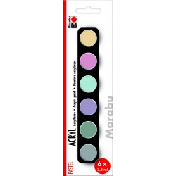 Akrylové barvy sada 6x3,5 ml pastelové odstíny Marabu