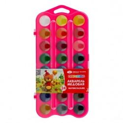 Medové vodové barvy dětské sada 24 kusů Nevskaya Palitra růžová kazeta