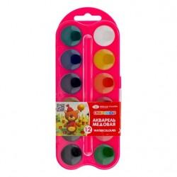 Medové vodové barvy dětské sada 12 kusů Nevskaya Palitra růžová kazeta