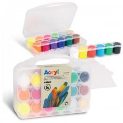 Akrylové barvy sada 18x25 ml + 2x plátno 22x14 cm v plastovém kufříku