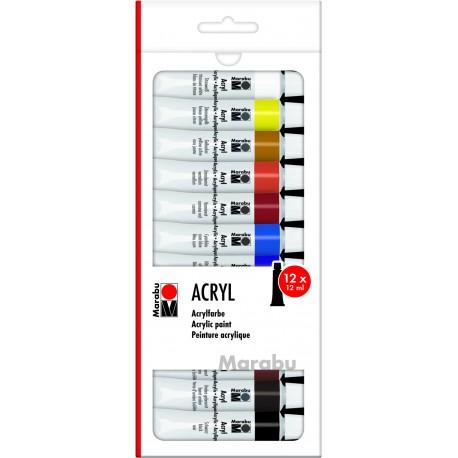 Akrylové barvy sada 12x12 ml odstíny Marabu
