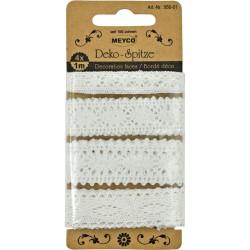 Krajka bavlna, bílá různé šířky, 4x1m, Meyco